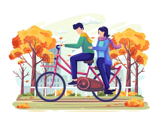 Couple on a date riding a bicycle in the mid of autumn vector illustration