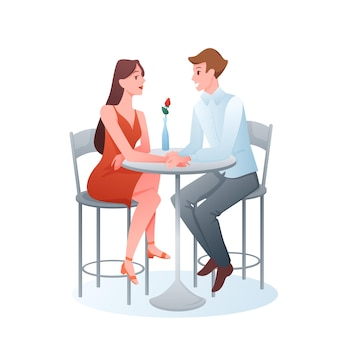 Couple on date two adult lovers sitting in restaurant