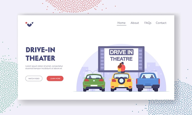 Couple dating at car cinema, romantic relation landing page template. man and woman sit on auto roof watch movie in drive-in theater. automobiles stand in open air parking. cartoon vector illustration