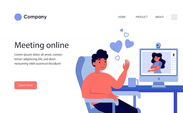 Couple dating online via video call. website template or landing page