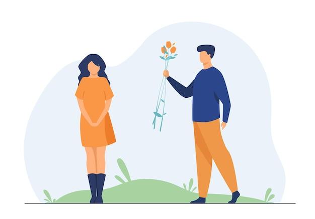 屋外でデートのカップル。ガールフレンドに花を与える男。漫画イラスト