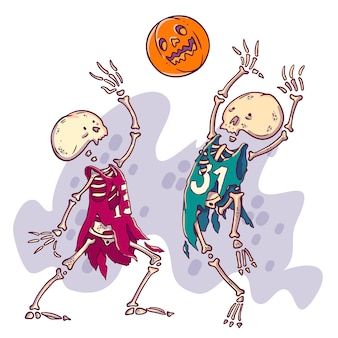 Couple of dead basketball player with pumpkin scary ball.