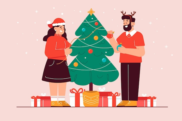 Couple decorating the christmas tree together illustrated