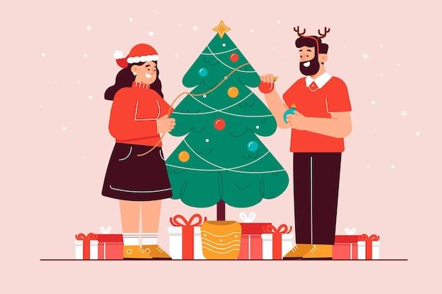 그림 함께 크리스마스 트리를 장식하는 커플