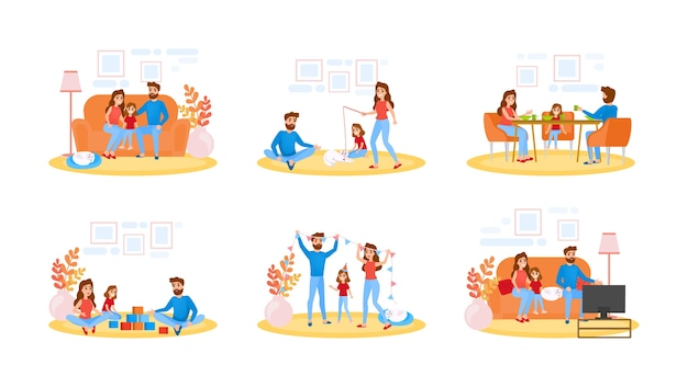 Couple on different activity set. father, mother