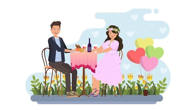 Пара ужин свидание на валентина иллюстрации