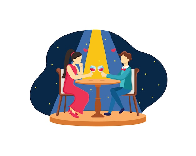 Couple dinner flat design with star background.