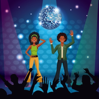 Couple of disco dancers at stage