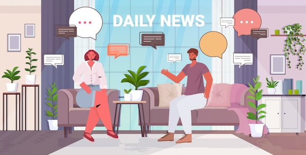 Couple discussing daily news during meeting chat bubble communication concept. man woman spending time together living room interior full length illustration