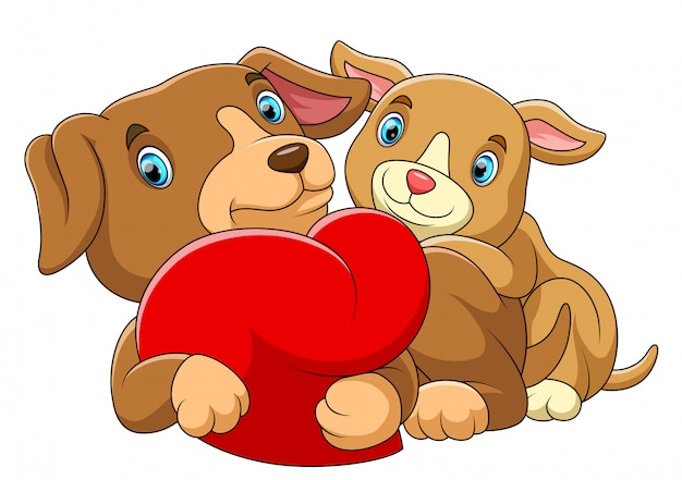 Couple dog in love with a red heart