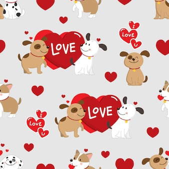 Couple dogs with love seamless pattern.