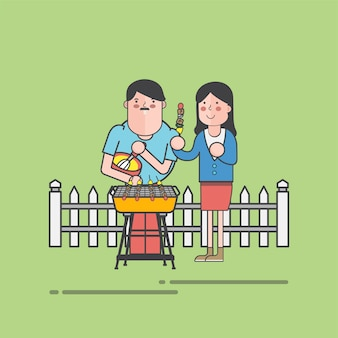 Couple doing bbq