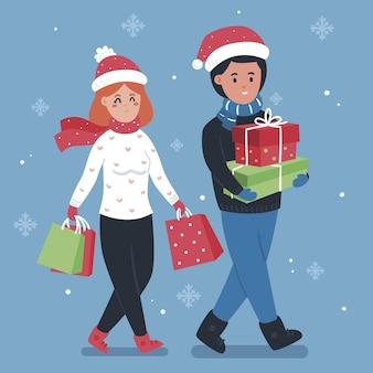 Пара делает рождественские покупки вместе