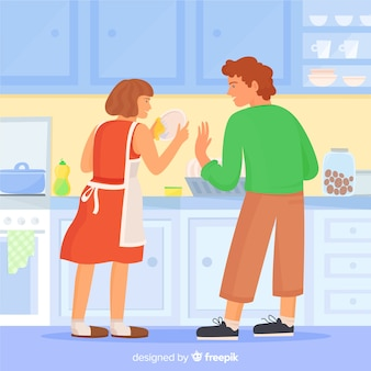 Couple doing housework together