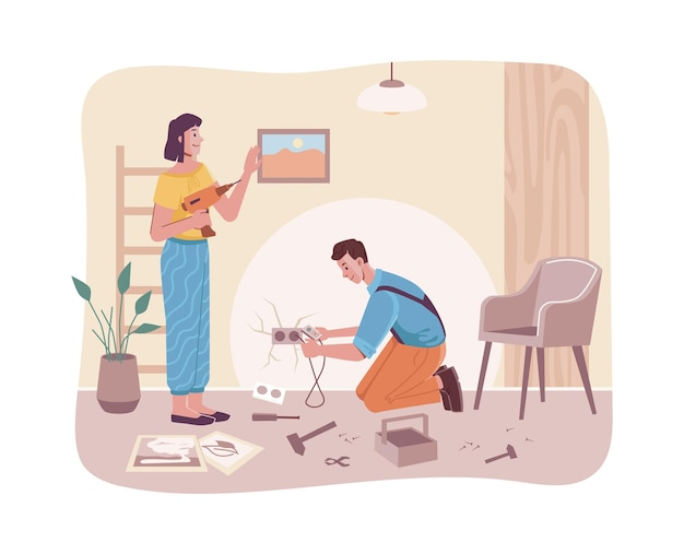 Пара делает ремонтные работы в интерьере домашней комнаты