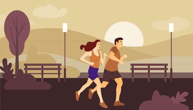 Пара делает обучение в парке. спорт и здоровый образ жизни.