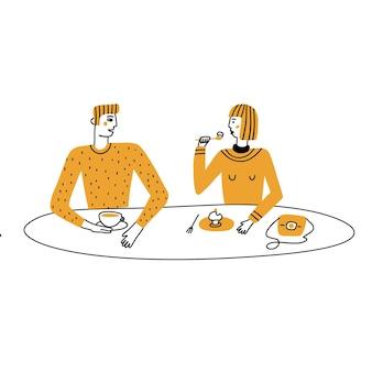 커플은 카페 외관과 라이프스타일 손으로 그린 벡터 병에서 휴식을 취하는 커피를 마십니다.