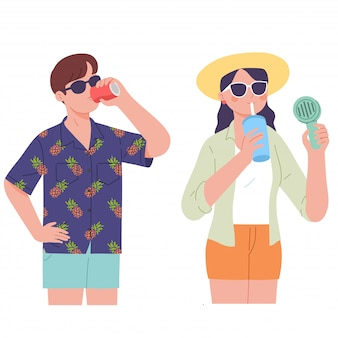 Couple drink ice juice and cold beverage on summer day