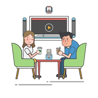 Couple drinking at a cafe table vector
