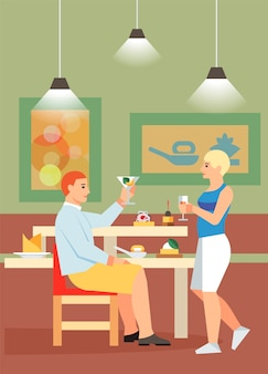 Couple drinking cocktails flat vector illustration
