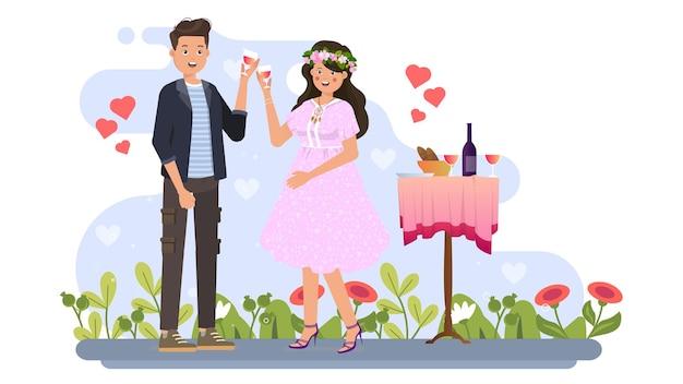バレンタインイラストで飲むカップル