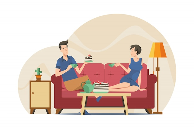 Couple drinking tea in apartment
