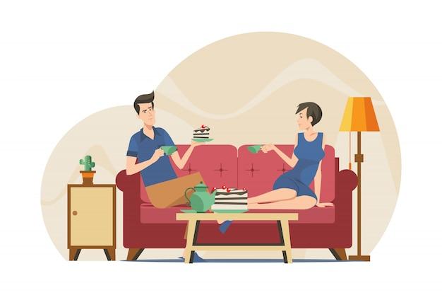 カップルのアパートでお茶を飲む