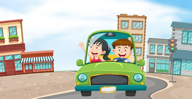 A couple driving in the town