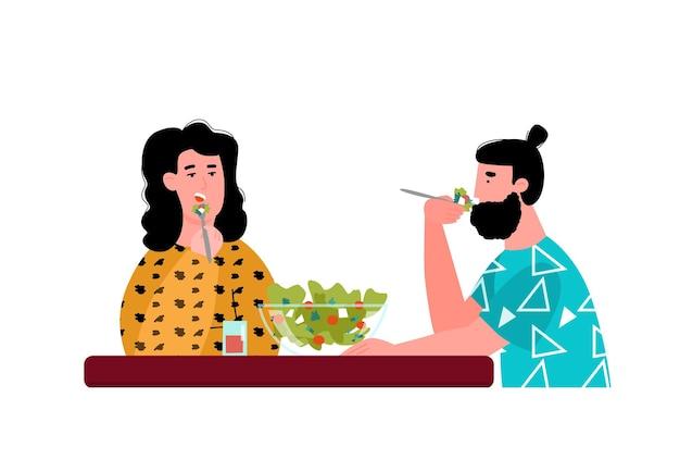 함께 음식을 먹는 커플 만화 사람들이 함께 샐러드 요리를 공유