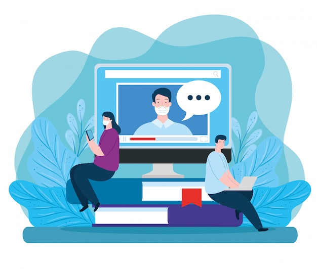 Couple in education online with icons illustration design