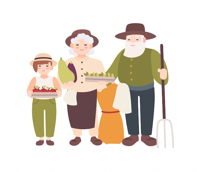 Couple of elderly farmers and their grandchild holding ripe gathered vegetables. grandparents and grandson carry harvest. flat cartoon characters isolated on white background. illustration.