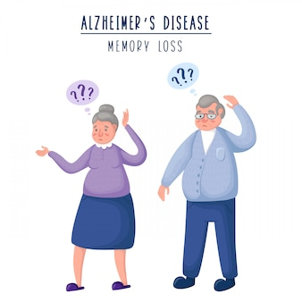 Couple of elderly old people - man and woman, upset and confused persons, memory loss and dementia
