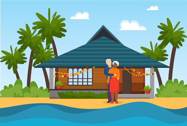Couple elderly senior people on beach near sea water  illustration. beautiful decorated house in . travel for rest or celebrating marriage anniversary.