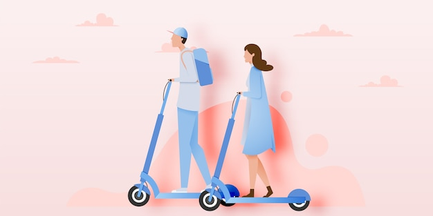 A couple on electric scooter