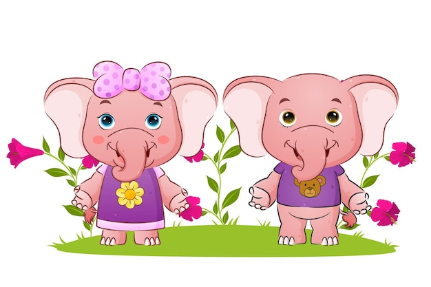The couple elephant is standing and giving the greeting   illustration