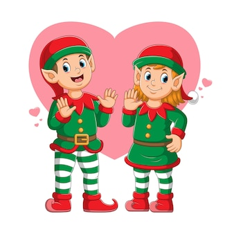 Couple elf using the circus costume with lovely expression illustration