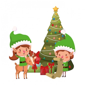 Couple of elves with christmas tree