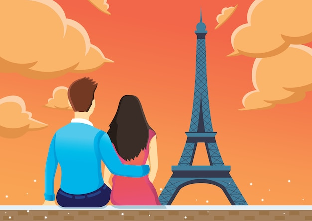 Couple enjoy near eiffel tower in the afternoon.