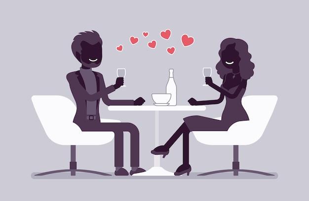カップルはレストランでロマンチックなディナーをお楽しみください。恋愛中の男女の出会い、初デート、結婚記念日カフェテーブルにて。ベクトルフラットスタイルと線画漫画イラスト、黒いシルエット
