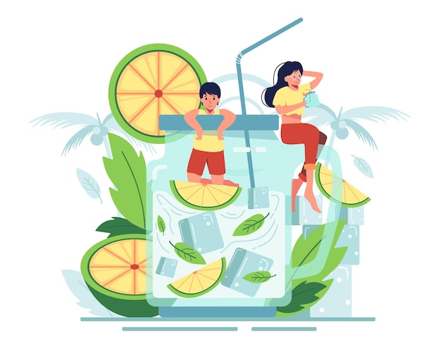 Couple enjoy sipping orange juice with mint leaves in a clear jug. the freshness of the summer.