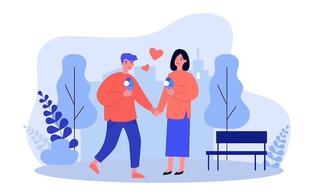 데이트를 즐기는 커플. 남자와여자가 공원에서 산책, 아이스크림을 먹고, 손을 잡고. 플랫 벡터 일러스트 레이션