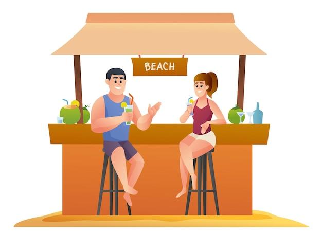 ビーチカフェイラストで飲み物を楽しむカップル