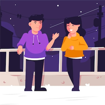 Couple enjoying the night on the roof staycation concept