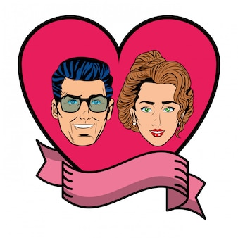 Couple face in a heart