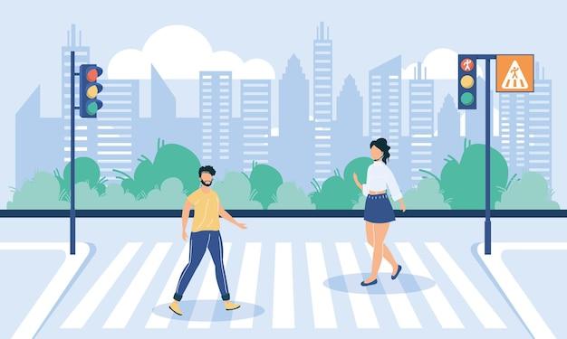 Пара безликих, переходящих дорогу на пешеходном переходе