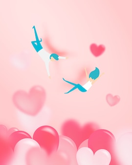 Couple falling in love with a lot of heart background and romantic pastel color vector illustration