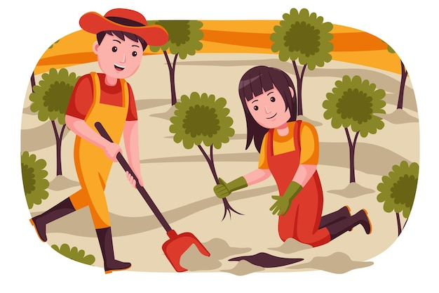 Couple farmer digging the ground for planting plants.