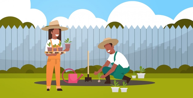 Couple farmers planting young seedlings plants flowers and vegetables   man woman working in garden eco farming concept backyard background full length horizontal