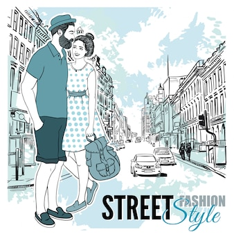 Coppia fashion city street poster