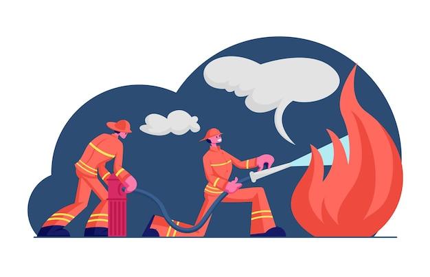 Couple of firemen fighting with blaze at burning house. cartoon flat illustration